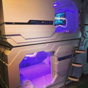 Capsule beds in the hostel
